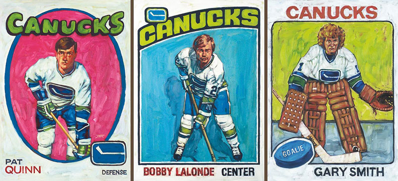Three Card Paintings - Canucks Cards
