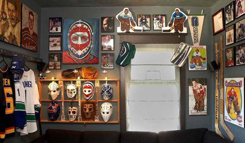Hockey Room - Mask Wall