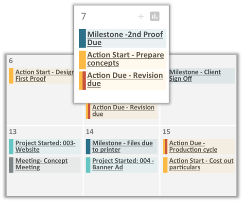 Customizable project schedule calendar view
