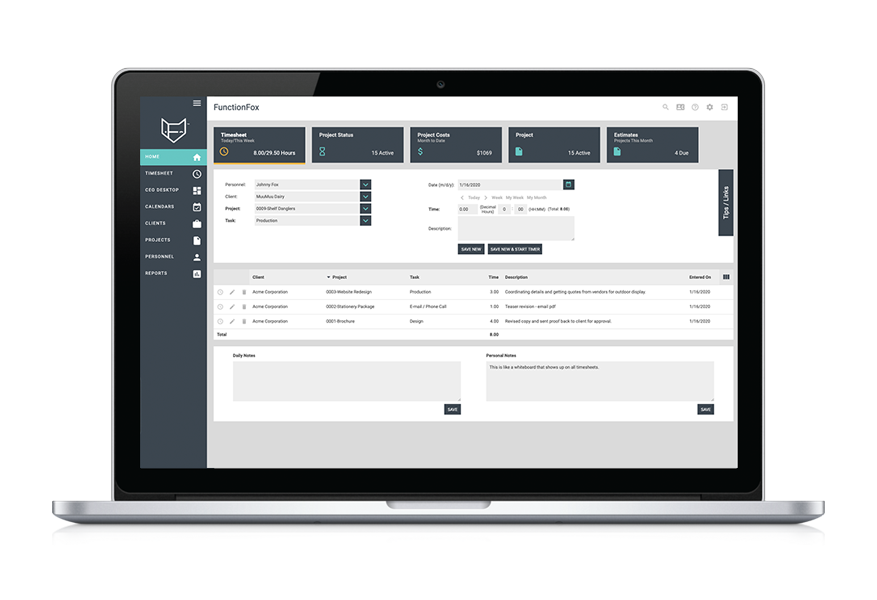 functionfox products timesheet project management software