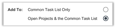 FunctionFox product image applying tasks to open projects and common task list.