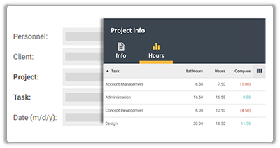 FunctionFox product image viewing estimated hours in project info modal.