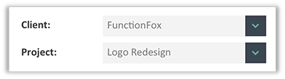 FunctionFox product image selecting client and project menus