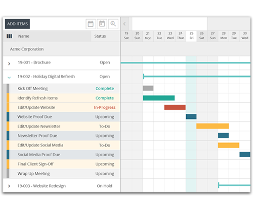FunctionFox Project Schedule and Gantt Chart